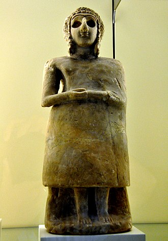 Tell Asmar Hoard - Early Dynastic statuette of a Sumerian female worshiper, very similar to Tell Asmar Hoard's statuettes, from Mesopotamia, Iraq