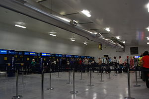 East Midlands Airport - The check-in hall at the airport.