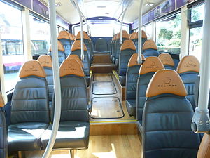 South East Hampshire Bus Rapid Transit - Inside an Eclipse BRT bus showing the leather seating.
