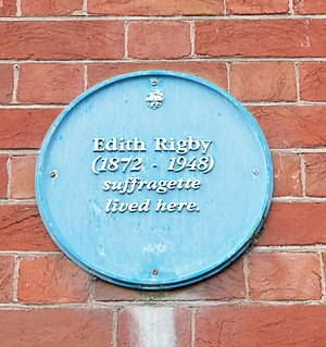 Edith Rigby - Edith Rigby plaque in Preston.