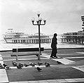 Een wandelaar op de boulevard, op de achtergrond de pier, Bestanddeelnr 926-8255.jpg