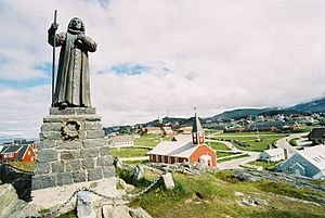 Nuuk - The statue of Hans Egede in Nuuk.