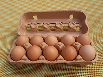 Egg carton - A filled egg carton.