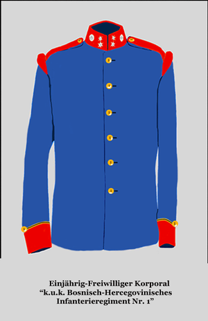 One-year volunteer - Tunic of a one-year volunteer corporal in the 1st Bosnian-Herzegovinian Infantry Regiment of the Austro-Hungarian Army