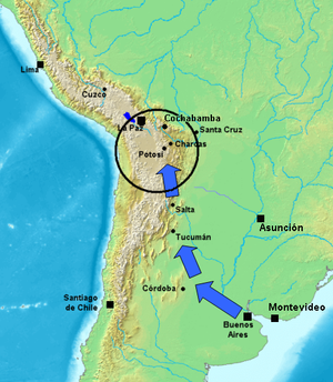Army of the North - Upper Peru, area of operations of the Army of the North sent from Buenos Aires
