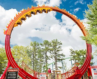 Larson International - El Diablo, a Larson 22M Giant Loop, at Six Flags Great Adventure.