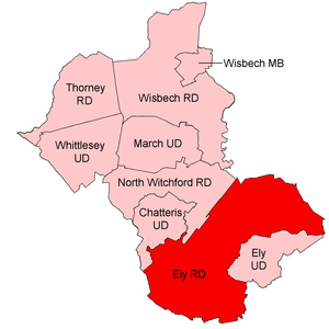 Ely Rural District - Position within Isle of Ely, 1935