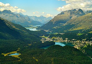 Engadin long valley in the Swiss Alps