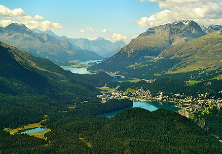 The high valley of Engadine. Tourism constitutes an important revenue for the less industrialised alpine regions. Engadine.jpg