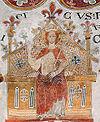 Erik Plovpenning fremstillet på kalkmaleri i Sankt Bendts Kirke i Ringsted (ca. 1300)