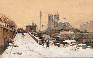 Barges in Winter on the Seine with a View of Notre-Dame in the Distance