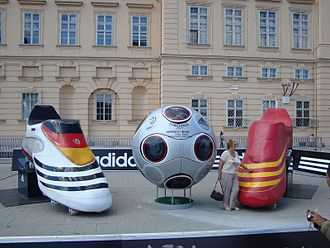 UEFA Euro 2008 - A large model of the adidas Europass prior to the final between Germany and Spain