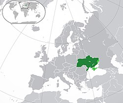 Location of  Ukraine  (green) on the European continent  (dark grey)  —  [Legend]