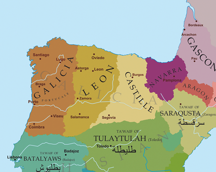 Political situation in the Northern Iberian Peninsula around 1065: Garcia II's domains (Galicia) Badajoz, owing tribute to Garcia Seville, owing tribute to Garcia Alfonso VI's domains (Leon) Toledo, owing tribute to Alfonso Sancho II's domains (Castile) Zaragoza, owing tribute to Sancho Europe-south-west-kingdoms.png