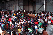 Evacuees from Mount Pinatubo at Andersen Air Force Base Guam