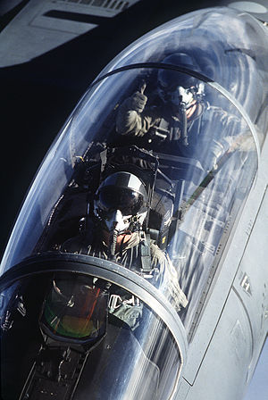 Weapon systems officer - F-15E cockpit view from tanker