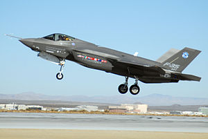 Edwards Air Force Base - A 461st Flight Test Squadron F-35 Lightning II, marked AA-1, lands at Edwards Air Force Base