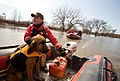"FEMA - 40689 - Valley Water Rescue member, Mike Knorr and search dog, ""Barnaby"" in North Dakota.jpg"