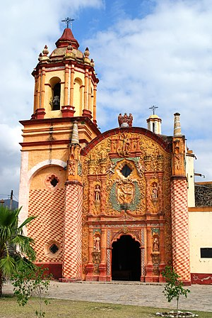 Arroyo Seco, Querétaro - Facade of the mission church at Concá
