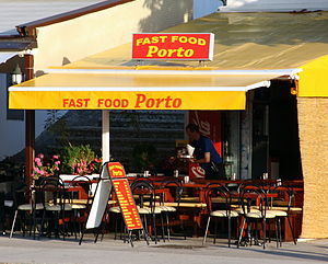 Fast food restaurant - A fast food restaurant in the port of Malinska, Croatia