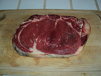 Sirloin steak - A raw slice of French faux-filet