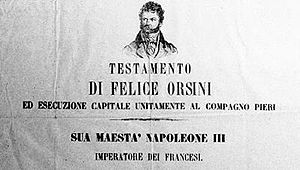 Felice Orsini - 1850s notice depicting Orsini