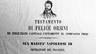 Felice Orsini - 1850s notice depicting Orsini