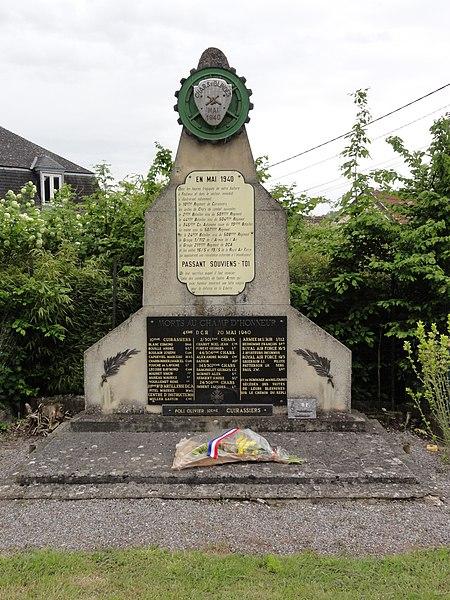 Festieux (Aisne) memorial mai 1940, au sud du bourg
