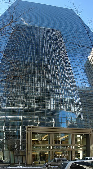 Fifth Avenue Place (Calgary) - East Tower with reflection of TransCanada Tower
