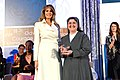 First Lady Melania Trump Poses for a Photo With 2017 International Women of Courage Awardee Sister Carolin Tahhan Fachakh of Syria (32909412573).jpg