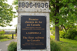 La Prairie, Quebec - A monument in La Prairie marking the location of the first railway in Canada.
