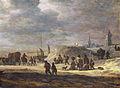 Fishermen and peasants on a beach with a village beyond, by Adriaan van der Cabel.jpg