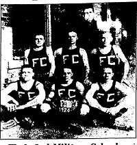 "Basketball team photo with ""FC"" on the players' shirts"