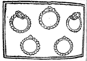 """The 12 Disasters of Christmas - Illustration of """"five gold rings"""", from the first known publication of """"The 12 Days of Christmas"""" (1780)"""