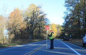 Traffic guard - Flagger on M-124, Hayes State Park, Michigan