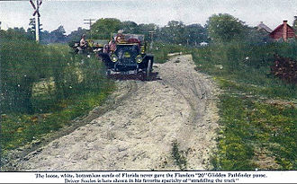 Glidden Tour - Postcard of a Flanders 20 serving as the pathfinder car to lay out the 1911 route from New York to Jacksonville, Florida.