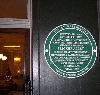 Cecil Court - 'Flicker Alley' plaque in Cecil Court
