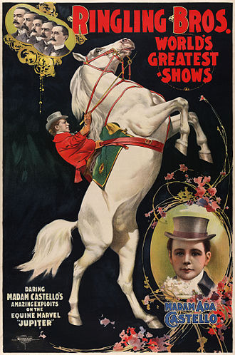 Poster -  Madam Ada Castello  and her horse Jupiter, poster for Ringling Brothers, ca. 1899.jpg