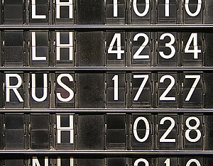 Flight number - Flight numbers on a split-flap display (Frankfurt airport)