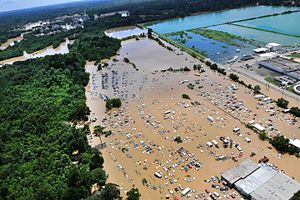 2016 Louisiana floods - Image: Flooded Baton Rouge 20160815 OC DOD 0009