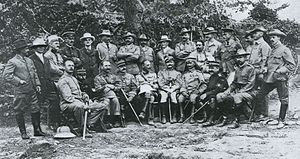 Frederick Palmer (journalist) - Palmer (back row, fourth from left) with Western military attachés and war correspondents after the Battle of Shaho (1904)