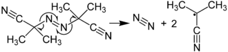Azo compound - Image: Formation of Radicals from AIBN