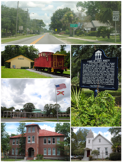 Top, left to right: Florida State Road 47 in Fort White, Fort White Train Depot, Fort White High School, Town of Fort White sign, Fort White Public School Historic District, Fort White United Methodist Church