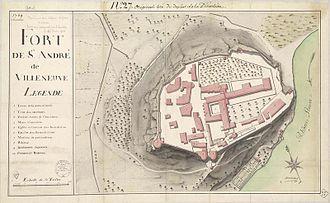 Fort Saint-André (Villeneuve-lès-Avignon) - Plan of Mount Andaon in 1769