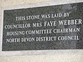 Foundation stone for flats opposite Barnstaple Museum - geograph.org.uk - 938942.jpg