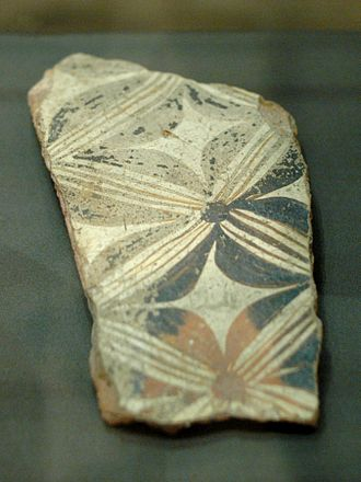 Corpus vasorum antiquorum - Fragment of a pithos (large storing jar) with abstract vegetative decoration, found in Cnossos. Terracotta, Palace Style, Late Minoan II (ca. 1450-1400 BC). Louvre, first vase published by CVA.