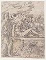Francesco Mazzola (zvaný Parmigianino), Ukládání do hrobu (1524-1527), lept, 1. stav, papír s filigránem 330 x 236 mm, Sbírka grafiky Národní galerie v Praze.jpg