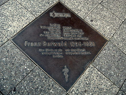 A pavement plate commemorating Berwald's time in Berlin and his orthopedic clinic Franz Berwald Berlin ubt.JPG