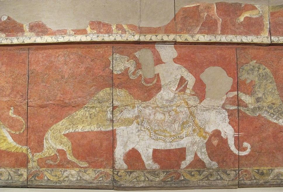 Fregio rosso, palazzo di varakhsha, camera 11, pareti sud ed est (parz), VII-VIII sec, 03