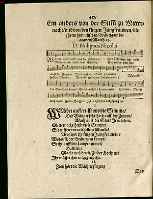 Wachet auf, ruft uns die Stimme, BWV 140 - The hymn in the first publication, 1599